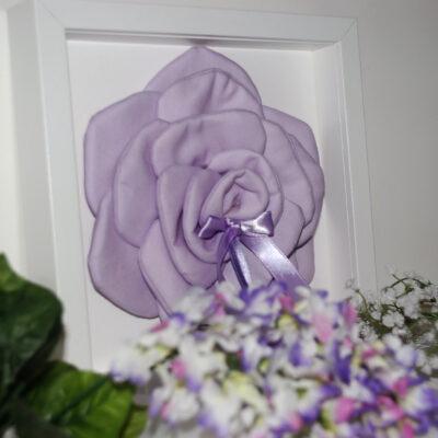 Cuscino Porta Fedi Lilla A Forma Di Rosa