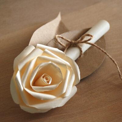Partecipazione Tridimensionale Rosa Fiore